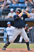 Columbia Fireflies first baseman Dash Winningham (34) awaits a pitch during a game against the Asheville Tourists at McCormick Field on June 17, 2016 in Asheville, North Carolina. The Tourists defeated the Fireflies 6-2. (Tony Farlow/Four Seam Images)