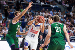 Real Madrid's player Sergio Llull and Unicaja Malaga's player Dejan Musli, Adam Waczynski and Carlos Suarez during match of Liga Endesa at Barclaycard Center in Madrid. September 30, Spain. 2016. (ALTERPHOTOS/BorjaB.Hojas)