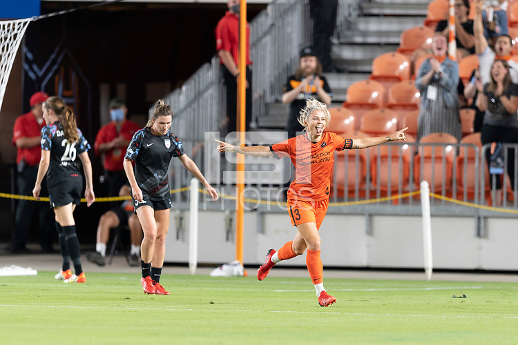 HOUSTON, TX - SEPTEMBER 10: Rachel Daly #3 of the Houston Dash celebrates her goal in the first half during a game between Chicago Red Stars and Houston Dash at BBVA Stadium on September 10, 2021 in Houston, Texas.
