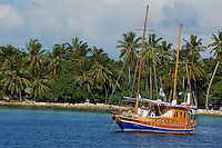 Wooden sailboat moored in the sea near a palm covered beach, Maldives.
