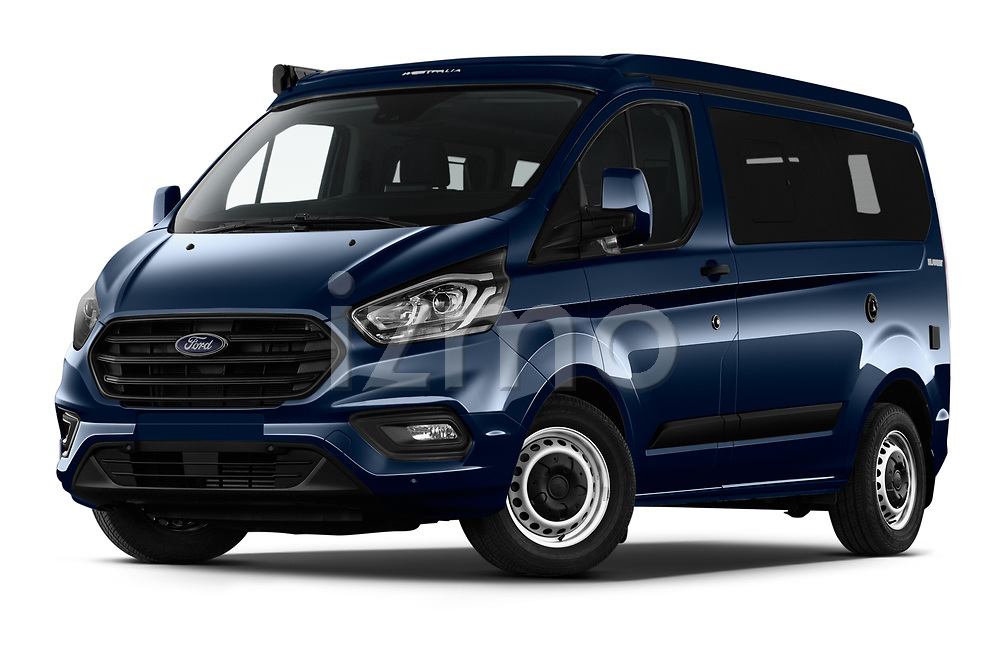 Stock pictures of low aggressive front three quarter view of 2020 Ford Transit-Custom Nugget 4 Door Camper Van Low Aggressive