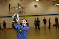 Pictured: Chloe playing basketball at the sports hall. Friday 26 September 2014<br /> Re: Cardiff and Vale College, Trowbridge Campus, Cardiff, south Wales.
