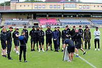 Brentford B Head Coach, Neil MacFarlane, chats with his players ahead of kick-off during Dulwich Hamlet vs Brentford B, Friendly Match Football at Champion Hill Stadium on 31st July 2021