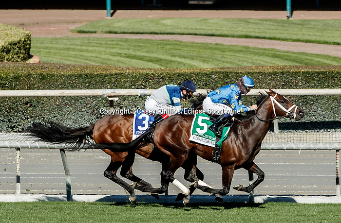 ARCADIA, CA  DEC 26: #5 Smooth Like Strait, ridden by Umberto Rispoli, takes on #3 Storm the Court, ridden by John Velazquez, in the stretch of the Mathis Brothers Mile (Grade ll) on December 26, 2020 at Santa Anita Park in Arcadia, CA.(Photo by Casey Phillips/Eclipse Sportswire/CSM.)