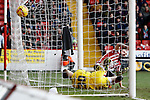 Sheffield United v Bristol City<br /> 22.2.2014<br /> Sky Bet League One<br /> Picture Shaun Flannery/Trevor Smith Photography<br /> John Brayford beats Bristol keeper Simon Moore to score United's first goal.