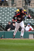 Rochester Red Wings center fielder Max Kepler (25) runs to first base against the Scranton Wilkes-Barre Railriders on May 1, 2016 at Frontier Field in Rochester, New York. Red Wings won 1-0.  (Christopher Cecere/Four Seam Images)