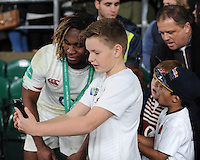 Marland Yarde of England has a selfie taken after the Old Mutual Wealth Series match between England and South Africa at Twickenham Stadium on Saturday 12th November 2016 (Photo by Rob Munro)