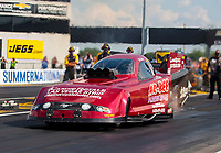 Jul 18, 2020; Clermont, Indiana, USA; NHRA funny car driver Bob Bode during qualifying for the Summernationals at Lucas Oil Raceway. Mandatory Credit: Mark J. Rebilas-USA TODAY Sports