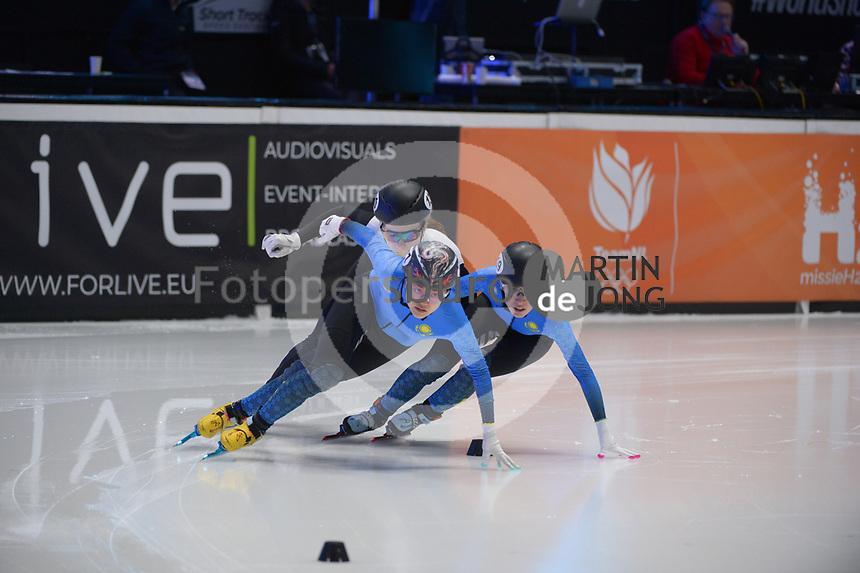 SPEEDSKATING: DORDRECHT: 06-03-2021, ISU World Short Track Speedskating Championships, RF 500m Ladies, Yana Khan (KAZ), Madina Zhanbusinova (KAZ), Anna Jansone (LAT), ©photo Martin de Jong