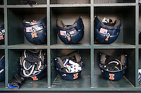 Illinois Fighting Illini Nike batting helmets before the game 2015 Big Ten Conference Tournament game between the Illinois Fighting Illini and Nebraska Cornhuskers at Target Field on May 20, 2015 in Minneapolis, Minnesota. (Brace Hemmelgarn/Four Seam Images)