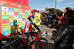Tim Wellens (BEL) Lotto-Soudal speaks to the media at sign on before the start of Stage 14 of the Vuelta Espana 2020, running 204.7km from Lugo to Ourense, Spain. 4th November 2020. <br /> Picture: Luis Angel Gomez/PhotoSportGomez | Cyclefile<br /> <br /> All photos usage must carry mandatory copyright credit (© Cyclefile | Luis Angel Gomez/PhotoSportGomez)