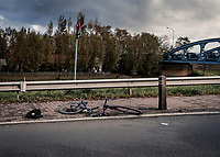 Ethan Hayter's (GBR/Ineos Grenadiers) destroyed bike after crashing into a wooden pole <br /> <br /> 82nd Gent-Wevelgem in Flanders Fields 2020 (1.UWT)<br /> 1 day race from Ieper to Wevelgem (232km)<br /> <br /> ©kramon