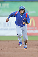 South Bend Cubs Isaac Paredes (16) runs to third base during a game against the Burlington Bees at Community Field on May 10, 2017 in Burlington, Iowa.  The Bees won 4-3 in 10 innings.  (Dennis Hubbard/Four Seam Images)