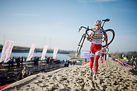 Klaas Vantornout (BEL/Sunweb-Napoleon Games) running on top of the (artificial) sand dune during recon<br /> <br /> Jaarmarktcross Niel 2014