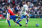 Real Madrid Gareth Bale and FC Viktoria Plzen David Limbersky and Milan Petrzela during UEFA Champions League match between Real Madrid and FC Viktoria Plzen at Santiago Bernabeu Stadium in Madrid, Spain. October 23, 2018. (ALTERPHOTOS/Borja B.Hojas)