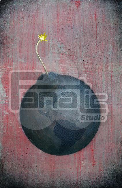 Illustrative image of globe lit up as a bomb