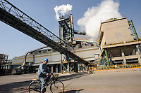 Blast furnace at Shanghai Baosteel factory. Baosteel is the largest Chinese iron and steel conglomerate. It is a state-owned enterprise, headquartered in Shanghai..