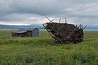 Abandoned farm equipment and tin roofed shack on the Carrizo Plain at Carrizo Plain National Monument in California
