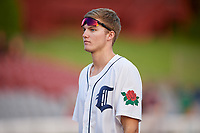 Connecticut Tigers Parker Meadows (12) after a game against the Lowell Spinners on August 26, 2018 at Dodd Stadium in Norwich, Connecticut.  Connecticut defeated Lowell 11-3.  (Mike Janes/Four Seam Images)
