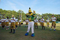 Savannah Bananas mascot Split before a Coastal Plain League game against the Macon Bacon on July 15, 2020 at Grayson Stadium in Savannah, Georgia.  Savannah wore kilts for their St. Patrick's Day in July promotion.  (Mike Janes/Four Seam Images)