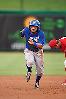 GCL Blue Jays second baseman Alfredo Bohorquez (13) runs to third after a throwing error while stealing second during a game against the GCL Phillies on August 16, 2016 at Bright House Field in Clearwater, Florida.  GCL Blue Jays defeated GCL Phillies 2-1.  (Mike Janes/Four Seam Images)
