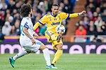 Gonzalo Higuain of Juventus (R) fights for the ball with Marcelo Vieira Da Silva of Real Madrid (L) during the UEFA Champions League 2017-18 quarter-finals (2nd leg) match between Real Madrid and Juventus at Estadio Santiago Bernabeu on 11 April 2018 in Madrid, Spain. Photo by Diego Souto / Power Sport Images