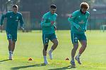 13.10.2020, Trainingsgelaende am wohninvest WESERSTADION - Platz 12, Bremen, GER, 1.FBL, Werder Bremen Training<br /> <br /> Joshua Sargent (Werder Bremen #19)<br /> Milot Rashica (Werder Bremen #07)<br /> Jean Manuel Mbom (Werder Bremen 34)<br /> <br /> <br /> Aufwärmen vor dem Training<br /> Querformat<br /> <br /> <br /> <br /> Foto © nordphoto / Kokenge