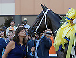 September 22, 2012. My Miss Aurelia, ridden by Corey Nakatani and trained by Steve Asmussen, wins the 43rd running of the Grade 1 Cotillion Stakes at Parx Racing in Bensalem, Pennsylvania. Owner Barbara Banke gives My Miss Aurelia a kiss. (Joan Fairman Kanes/Eclipse Sportswire)