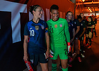 HOUSTON, TX - JUNE 13: Carli Lloyd #10 and Adrianna Franch #21 of the USWNT wait in the tunnel before a game between Jamaica and USWNT at BBVA Stadium on June 13, 2021 in Houston, Texas.