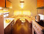 Interior of a Clipper vintage travel trailer.