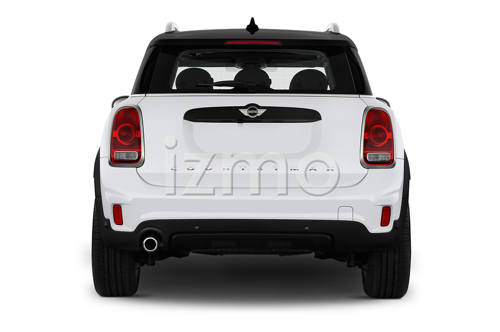 Straight rear view of 2018 MINI Countryman 5-Door 5 Door Hatchback Rear View  stock images