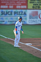 Andy Pages (18) of the Ogden Raptors takes a lead from third base during the game against the Rocky Mountain Vibes at Lindquist Field on July 6, 2019 in Ogden, Utah. The Vibes defeated the Raptors 7-2. (Stephen Smith/Four Seam Images)