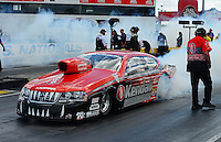 Sept 9, 2012; Clermont, IN, USA: NHRA pro stock driver V. Gaines during the US Nationals at Lucas Oil Raceway. Mandatory Credit: Mark J. Rebilas-