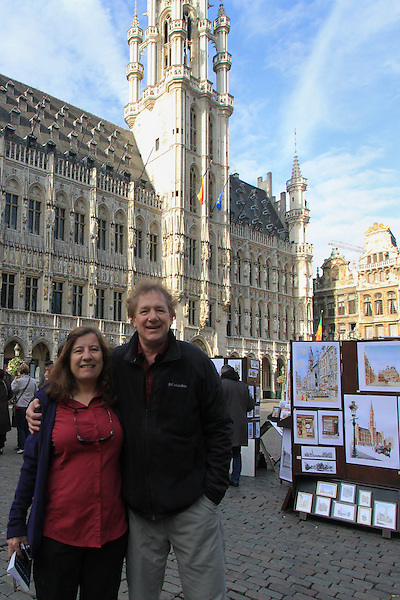 John and Beth in the Grand Place (town square) in the morning in downtown Brussels, Belgium.