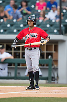 Gustavo Nunez (12) of the Indianapolis Indians gets ready to step up to the plate against the Charlotte Knights at BB&T BallPark on June 20, 2015 in Charlotte, North Carolina.  The Knights defeated the Indians 6-5 in 12 innings.  (Brian Westerholt/Four Seam Images)