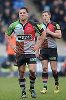 20130309 Copyright onEdition 2013©.Free for editorial use image, please credit: onEdition..Ben Botica of Harlequins looks on during the LV= Cup semi final match between Harlequins and Bath Rugby at The Twickenham Stoop on Saturday 9th March 2013 (Photo by Rob Munro)..For press contacts contact: Sam Feasey at brandRapport on M: +44 (0)7717 757114 E: SFeasey@brand-rapport.com..If you require a higher resolution image or you have any other onEdition photographic enquiries, please contact onEdition on 0845 900 2 900 or email info@onEdition.com.This image is copyright onEdition 2013©..This image has been supplied by onEdition and must be credited onEdition. The author is asserting his full Moral rights in relation to the publication of this image. Rights for onward transmission of any image or file is not granted or implied. Changing or deleting Copyright information is illegal as specified in the Copyright, Design and Patents Act 1988. If you are in any way unsure of your right to publish this image please contact onEdition on 0845 900 2 900 or email info@onEdition.com