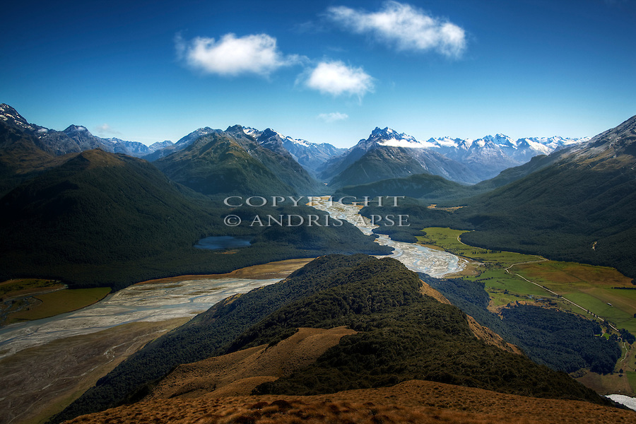 The Dart River from Mount Alfred. Otago Region. New Zealand.