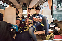 pre-race relaxing for Wesley Kreder (Ned/Wanty-Groupe Gobert) on the teambus<br /> <br /> 105th Scheldeprijs 2017 (1.HC)<br /> 1 Day Race: Mol › Schoten (BEL/202km)