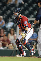 Fort Myers Miracle catcher Mitch Garver (25) during a game against the Tampa Yankees on April 15, 2015 at Hammond Stadium in Fort Myers, Florida.  Tampa defeated Fort Myers 3-1 in eleven innings.  (Mike Janes/Four Seam Images)