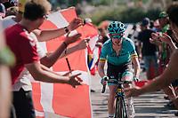 """Jesper Hansen (DEN/Astana) coming through """"Dutch Corner"""" (#7) on Alpe d'Huez<br /> <br /> Stage 12: Bourg-Saint-Maurice / Les Arcs > Alpe d'Huez (175km)<br /> <br /> 105th Tour de France 2018<br /> ©kramon"""