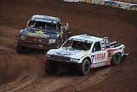 Mar. 20, 2011; Chandler, AZ, USA;  LOORRS pro two driver  Carl Renezeder (17) leads Rob MacCachren during round two at Firebird International Raceway. Mandatory Credit: Mark J. Rebilas-