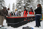 An estimated 500 participants jumped into Lake Tahoe as part of the 8th annual Polar Plunge to benefit Special Olympics at Zephyr Cove, Nev. , on Saturday, March 17, 2012. Many participants wear themed costumes for the event, including the Titanic entry from Greater Nevada Credit Union..Photo by Cathleen Allison
