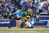 Baylor Bears catcher Andy Thomas (25) frames a pitch as home plate umpire Jason Milsap looks on during the game against the LSU Tigers in game five of the 2020 Shriners Hospitals for Children College Classic at Minute Maid Park on February 28, 2020 in Houston, Texas. The Bears defeated the Tigers 6-4. (Brian Westerholt/Four Seam Images)