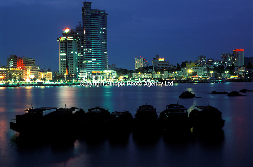 Xiamen skyline viewed from Gulangyu Island, China...