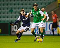 15th November 2020; Easter Road, Edinburgh, Scotland; Scottish League Cup Football, Hibernian versus Dundee FC; Joe Newell of Hibernian challenges for the ball with Finlay Robertson of Dundee