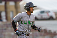 Clinton LumberKings outfielder Luis Liberato (2) runs to first during a Midwest League game against the Wisconsin Timber Rattlers on May 9th, 2016 at Fox Cities Stadium in Appleton, Wisconsin.  Clinton defeated Wisconsin 6-3. (Brad Krause/Four Seam Images)