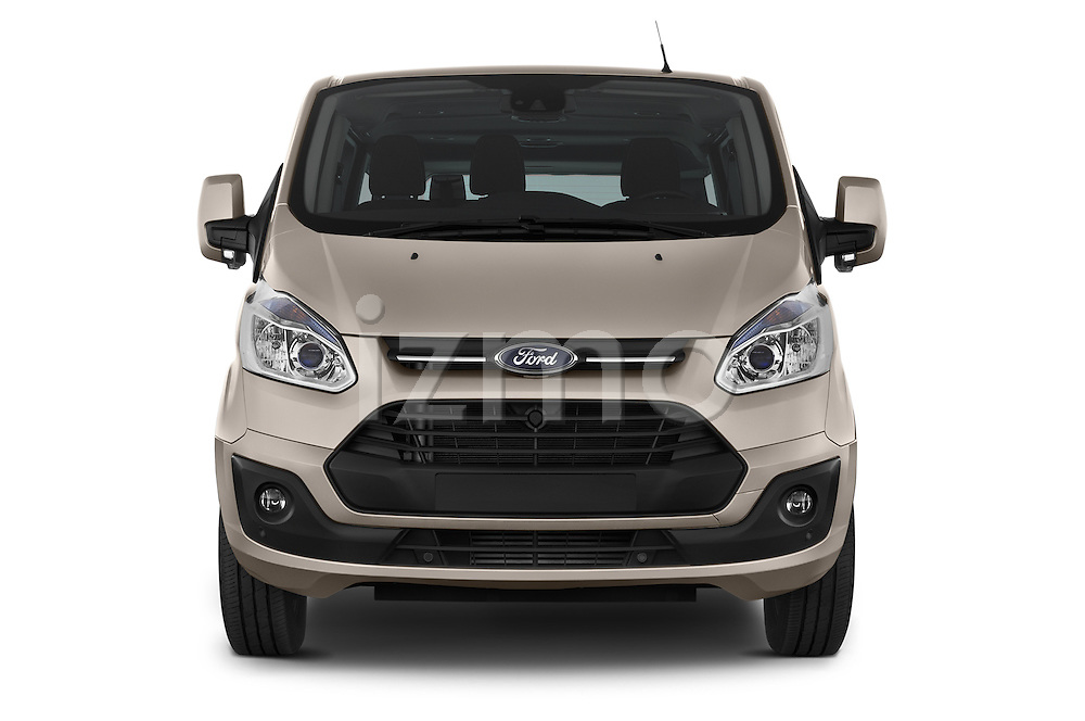 Car photography straight front view of a 2013 Ford TOURNEO CUSTOM TITANIUM 5 Door Combi Front View