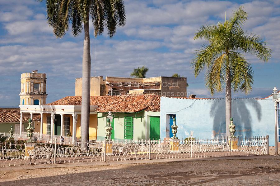 Cuba, Trinidad.  Plaza Mayor.  Tower of the Palacio Cantero in rear left, now the Museo Historico Municipal.