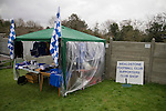 Wealdstone 0 Newport County 0, 17/03/2012. St Georges Stadium, FA Trophy Semi Final. A makeshift gazebo selling club souvenirs inside St Georges Stadium, home ground of Wealdstone FC, before the club played host to Newport County in the semi-final second leg of the F.A. Trophy. The game ended in a goalless draw, watched by a capacity crowd of 2,092 which meant the visitors from Wales progressed by three goals to one to the competition's final at Wembley, where they would meet York City. The F.A. Trophy was the premier cup competition for non-League clubs in England and Wales affiliated to the Football Association. Photo by Colin McPherson.