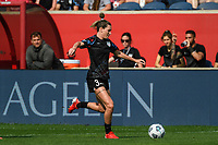 BRIDGEVIEW, IL - JULY 18: Arin Wright #3 of the Chicago Red Stars plays the ball during a game between OL Reign and Chicago Red Stars at SeatGeek Stadium on July 18, 2021 in Bridgeview, Illinois.
